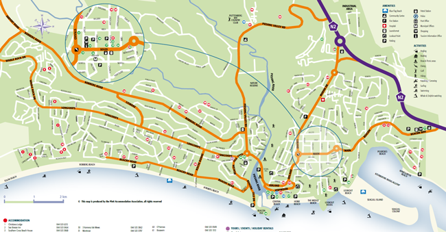 Plettenberg Bay Street Map Plettenberg Bay Accommodation Association